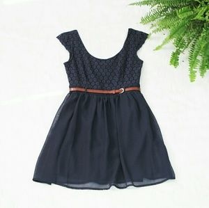 Dresses & Skirts - Navy Lace Overlay Dress